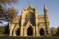 Cathedral and Abbey Church of St Alban. The imposing front entrance of the Cathedral and Abbey Church of St Alban, St Albans, Hertfordshire, England. Autumn Stock Photo