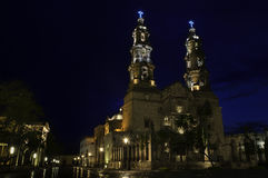 Cathedral of Aguascalientes. Beautiful Cathedral from Aguascalientes in Mexico taken at blue hour Royalty Free Stock Photography