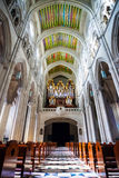 Cathedral Almudena interior with view of the pipe organ on a sun Stock Images