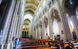 Cathedral Almudena interior with view of the pipe organ on a sun Royalty Free Stock Photography