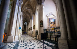 Cathedral Almudena interior with view of the pipe organ on a sun Stock Photos