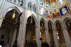 Cathedral of Almudena stained glass and paintings, Madrid Royalty Free Stock Images