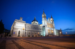 Cathedral Almudena with tourists on a spring day in Madrid Royalty Free Stock Photos