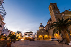 Cathedral in Altea at dusk. Spain on Costa Blanca Royalty Free Stock Photos