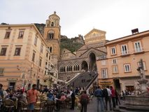 The Cathedral of Amalfi, dedicated to St. Andrew at Piazza del Duomo, Amalfi Coast, Italy. Crouds in front Royalty Free Stock Photography