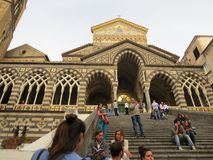 The Cathedral of Amalfi, dedicated to St. Andrew at Piazza del Duomo, Amalfi Coast, Italy. Crouds in front Royalty Free Stock Photos