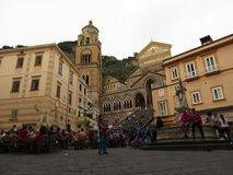 The Cathedral of Amalfi, dedicated to St. Andrew at Piazza del Duomo, Amalfi Coast, Italy. Crouds in front Royalty Free Stock Images