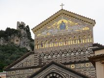 The Cathedral of Amalfi, dedicated to St. Andrew at Piazza del Duomo, Amalfi Coast, Italy. Crouds in front Royalty Free Stock Photo