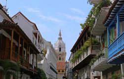 View of balconies leading to the cathedral in Cartagena, Colombia royalty free stock photos