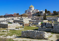 Cathedral and ancient ruins in Chersonesos Taurica Royalty Free Stock Images