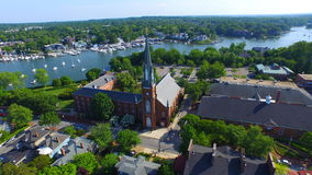Cathedral At Annapolis. The majestic church at Annapolis reveals even more beauty when filmed from above. Surrounded by green leafy trees and the Chesapeake bay Royalty Free Stock Photo