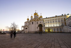 Cathedral of the Annunciation Blagoveschensky sobor at night. Cathedral Square, Inside of Moscow Kremlin, Russia Stock Images