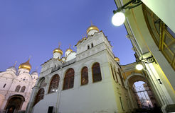 Cathedral of the Annunciation Blagoveschensky sobor at night. Cathedral Square, Inside of Moscow Kremlin, Russia Royalty Free Stock Photo