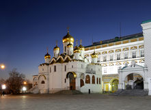 Cathedral of the Annunciation Blagoveschensky sobor at night. Cathedral Square, Inside of Moscow Kremlin, Russia Royalty Free Stock Photos
