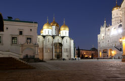 Cathedral of the Annunciation Blagoveschensky sobor at night. Cathedral Square, Inside of Moscow Kremlin, Russia Royalty Free Stock Images
