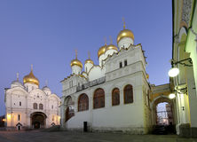 Cathedral of the Annunciation Blagoveschensky sobor at night. Cathedral Square, Inside of Moscow Kremlin, Russia. Royalty Free Stock Photography