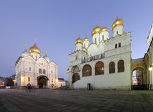 Cathedral of the Annunciation Blagoveschensky sobor at night. Cathedral Square, Inside of Moscow Kremlin, Russia. Stock Image