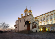 Cathedral of the Annunciation Blagoveschensky sobor at night. Cathedral Square, Inside of Moscow Kremlin, Russia. Royalty Free Stock Photo