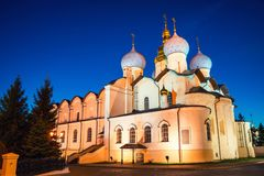 Cathedral of the Annunciation with clear blue sky in Kazan Kremlin, Russia. Kazan, Russia. Night view of illuminated Cathedral of the Annunciation with clear Stock Image