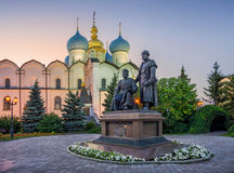 Cathedral of the Annunciation and Monument to the architects. Of the Kazan Kremlin on a summer evening Royalty Free Stock Photo