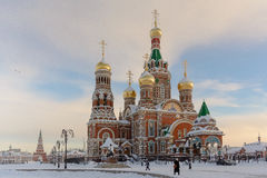 Cathedral of the Annunciation. In Yoshkar-Ola, Russia. View of the Russian church in winter Stock Images