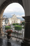 The cathedral of Antigua. On Guatemala royalty free stock photos