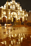 Cathedral of Antigua, Guatemala by Night. Antigua´s main Cathedral San José, colonial church, by night with reflection Royalty Free Stock Photos