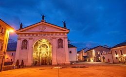Cathedral of Aosta Italy - night view Stock Photo