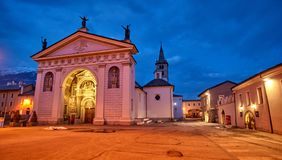 Cathedral of Aosta Italy - night view Royalty Free Stock Photos