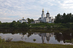 Cathedral of the Archangel Michael in the village Merkushino River Tours. Sverdlovsk region. Royalty Free Stock Photos