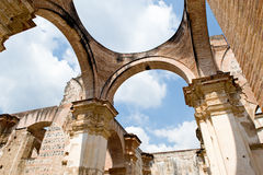 Cathedral Arches. A background with a view of the arches architecture at the Guatemala Antigua Cathedral in South America Royalty Free Stock Image