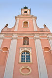 Cathedral architecture details. Architecture details of catholic cathedral of Holy Mary in Varazdin town, very low angle shot, Croatia Stock Images