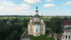 Cathedral of the Ascension of the Lord. Spaso-Sumorin Monastery. Totma. Vologda Region. Russia. view from above. Cathedral of the Ascension of the Lord. Spaso stock footage