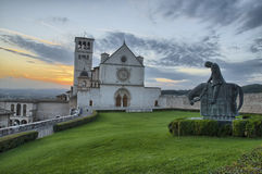 The cathedral of Assisi at sunset Royalty Free Stock Photography