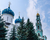 Cathedral of the Assumption of the Blessed Virgin Mary. Bell tower. Holy Trinity-St. Sergiev Posad Royalty Free Stock Photo