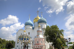 Cathedral of the Assumption of the Blessed Virgin Mary. Holy Trinity St. Sergius Lavra. Royalty Free Stock Photo