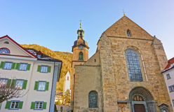Cathedral of the Assumption in Chur at sunrise Stock Image