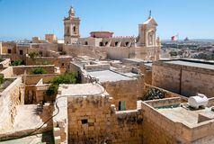The Cathedral of Assumption in the middle of the citadel in Gozo Royalty Free Stock Images