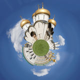 Cathedral of Assumption tiny planet. Picture of Cathedral of Assumption (Kremlin) tiny planet Royalty Free Stock Image