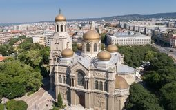 The Cathedral of the Assumption in Varna, Bulgaria. Byzantine style church with golden domes. The Cathedral of the Assumption in Varna, Bulgaria. Byzantine royalty free stock image