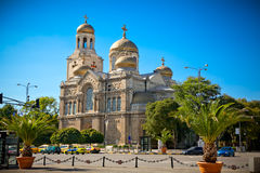 The Cathedral of the Assumption in Varna, Bulgaria. Completed in 1886, and also known as the Dormition of the Theotokos Cathedral royalty free stock image