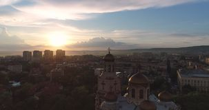 The Cathedral of the Assumption in Varna, Bulgaria. Night in the city. The Cathedral of the Assumption in Varna, Bulgaria. Night in the city stock video footage