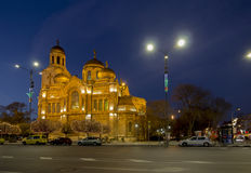 The Cathedral of the Assumption in Varna. illuminated at night. Royalty Free Stock Photo