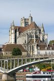 Cathedral of Auxerre (Bourgogne France) Stock Photography