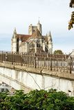 Cathedral of Auxerre, seen by a bank of the Yonne Royalty Free Stock Photography