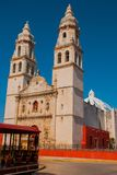Cathedral on the background of blue sky. San Francisco de Campeche, Mexico. royalty free stock photography