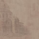 Cathedral background (brown). Grungy and distressed sepia background with subtle cathedral motif Stock Photo