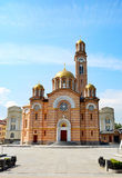 Cathedral in Banja Luka. Front view of Cathedral of Christ the Saviour, Banja Luka. Bosnia and Herzegovina Stock Image
