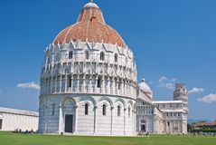 Cathedral, baptistery, and leaning tower of pisa Stock Photos