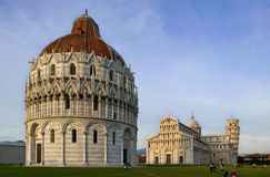 Cathedral, baptistery and Tower of Pisa Stock Photo
